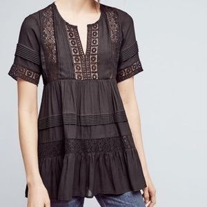 ANTHROPOLOGIE Maeve Tiered Lace Tunic Blouse Med